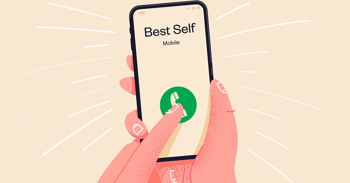 A hand holding a phone. a call from your best self
